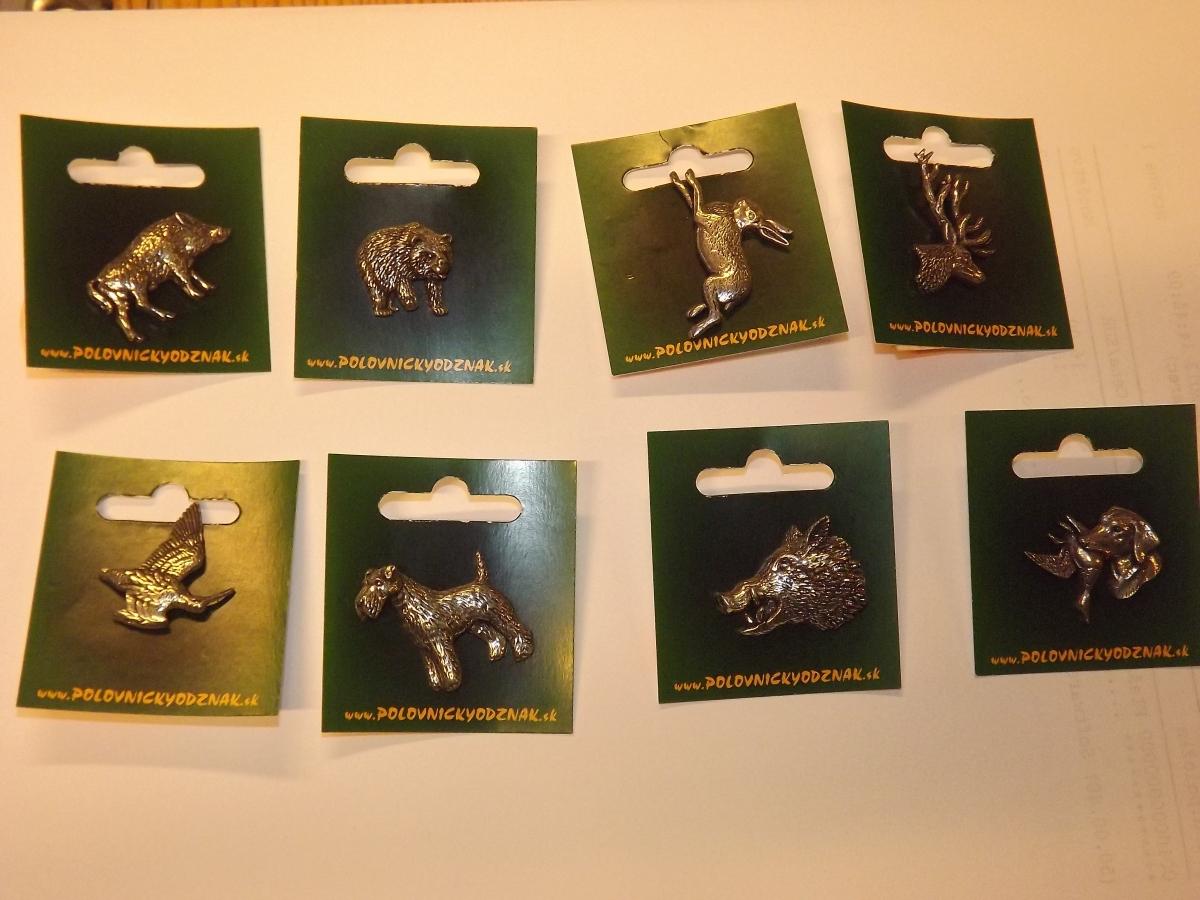 0a93f2e8f Poľovnícke odznaky s motívom zvierat | www.lesotur.sk